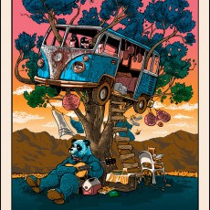 """Guitar for Pandas"" art print by Tim Doyle now ONSALE! (Coachella art print)"
