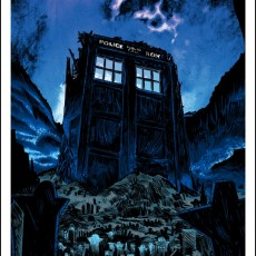 """Fields of Trenzalore"" OVERSIZED GLOW edition Doctor Who print from SpokeArt"